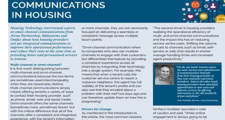Screen shot of article Omni channel communications in housing